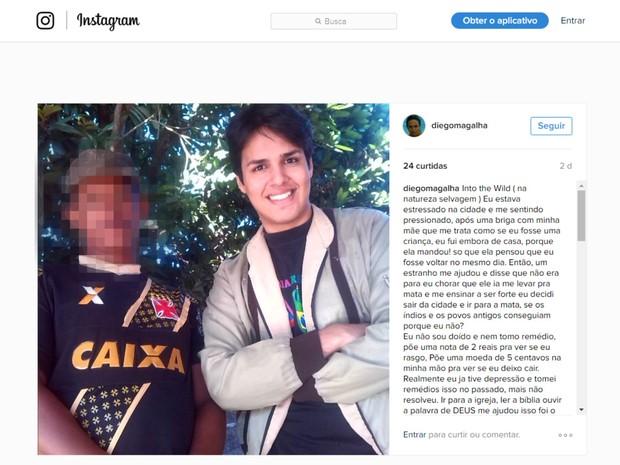 Jovem desabafou nas redes sociais sobre o motivo de ter saído de casa (Foto: Reprodução/Instagram)