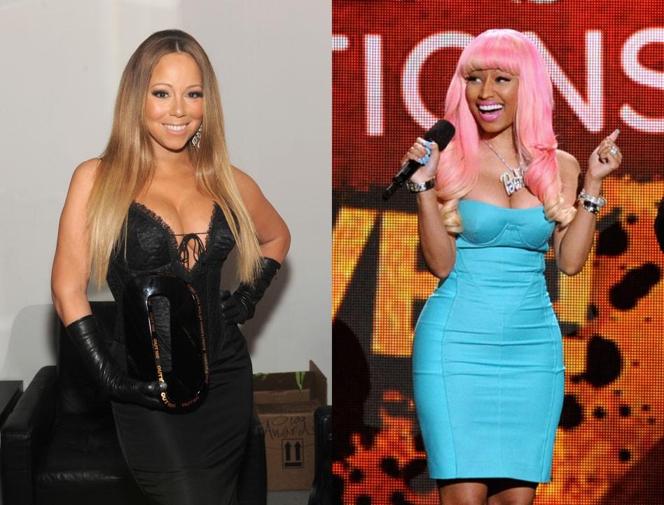 """As brigas entre as duas começaram durante as gravações do 'The American Idol' em 2012 e 2013. As cantoras não se deram bem e jogavam indiretas (que em alguns momentos, eram bem diretas mesmo) durante o programa. Mesmo depois de não serem mais juízas na competição, o clima entre elas continuou pesado. Mariah deu uma entrevista à rádio nova iorquina Hot 97 dizendo que """"era como trabalhar todo dia no inferno com Satã"""".  (Foto: Getty Images)"""