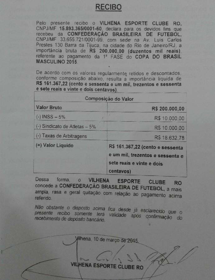 Federação divulga recibo assinado pelo vice-presidente do Vilhena (Foto: Reprodução/FFER)