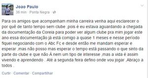 João Paulo - atacante do ABC (Foto: Reprodução)