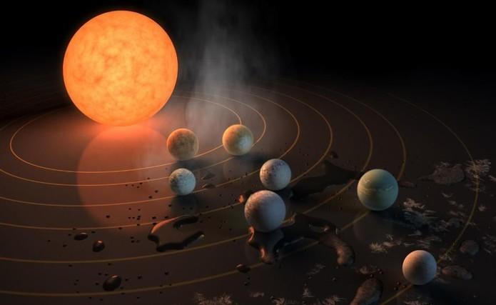 Astrônomos descobrem sete novos planetas  (Foto: Divulgação/NASA )