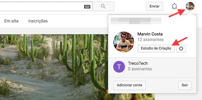 Acesso para as opções de criação de um canal YouTube (Foto: Reprodução/Marvin Costa)