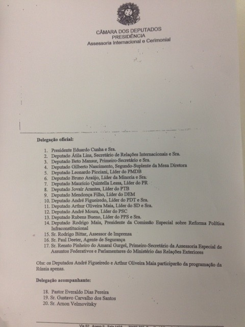Documento do cerimonial mostra a lista dos integrantes da comitiva (Foto: divulgação Câmara dos Deputados)