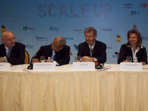 Empresários brasileiros e estrangeiros falam sobre sustentabilidade em reunião do Dia de Negócios (Foto: Lilian Quaino/G1)