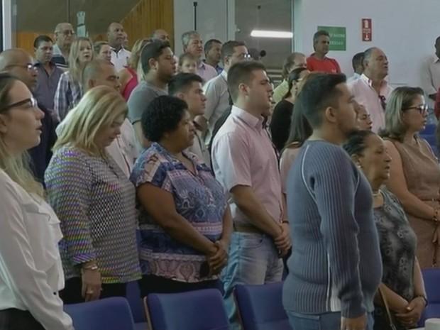 População acompanhou diplomação de políticos em Avaré (Foto: Reprodução/ TV TEM)