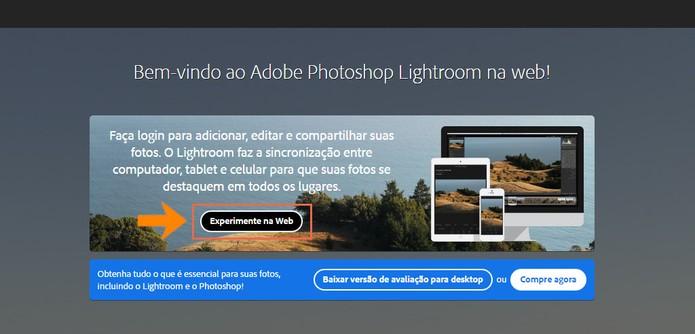 Acesse a página do Lightroom online e teste a versão web (Foto: Reprodução/Barbara Mannara)