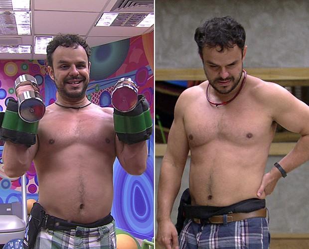 O ponteiro da balança de Adrilles não andou muito: de 74,3 kg para 73 kg (Foto: TV Globo)
