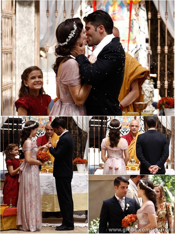 Flores no vestido e na cabeça, seguindo a tendência do versão (Foto: Inácio Moraes/TV Globo)