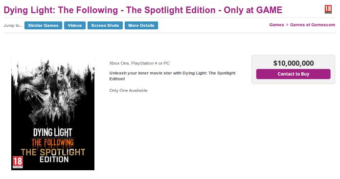 Anúncio da edição Spotlight de Dying Light e seu preço de 10 milhões de dólares (Foto: Reprodução/Game.co.uk)