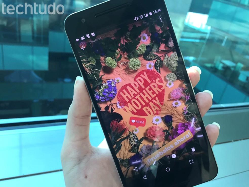 Instagram Stories ganha adesivos de Dia das Mães (Foto: Gabrielle Lancellotti/TechTudo)