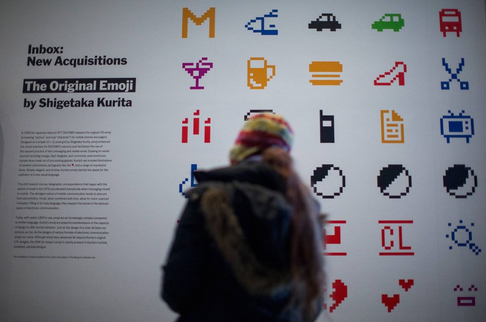 Emojis acabam de entrar para a história da arte por serem incorporados à coleção do famoso Museu de Arte Moderna de Nova York (MoMA) (Foto: Eduardo Munoz Alvarez/AFP)