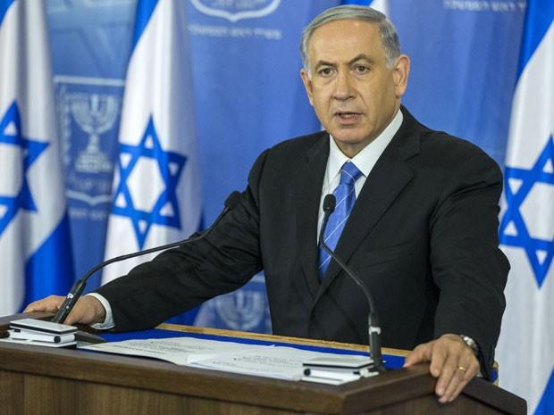 O primeiro ministro de Israel, Benjamin Netanyahu, durante pronunciamento em Tel Aviv, no dia 20 de agosto (Foto: AFP Photo/Jack Guez)
