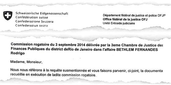 Comunicado das autoridades suíças ao Ministério da Justiça. Cooperação internacional detectou contas de Bethlem (Foto: reprodução)