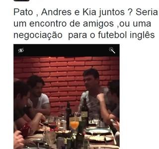 Pato janta com Kia, Andres Sanchez e Giuianno Bertolucci (Foto: Reprodução/Twitter)