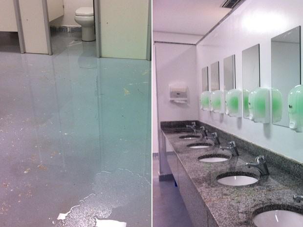 G1  Inauguração do estádio de Brasília tem atraso na abertura de portões  n -> Fila Banheiro Feminino