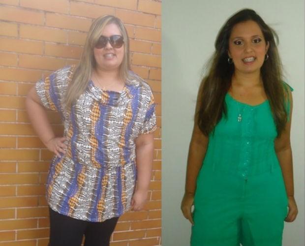 Nayane antes e depois de emagrecer; segundo ela, cordão no pescoço era 'tipo gargantilha' (Foto: Arquivo pessoal)
