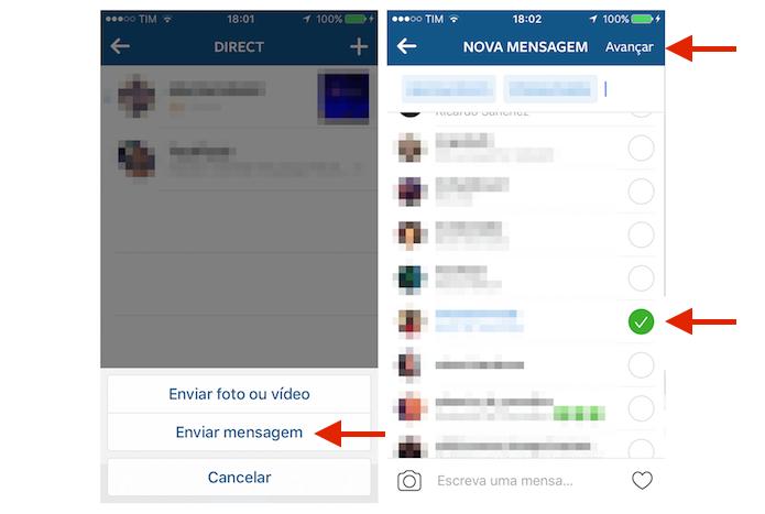 Selecionando amigos para um novo grupo no Instagram (Foto: Reprodução/Marvin Costa)
