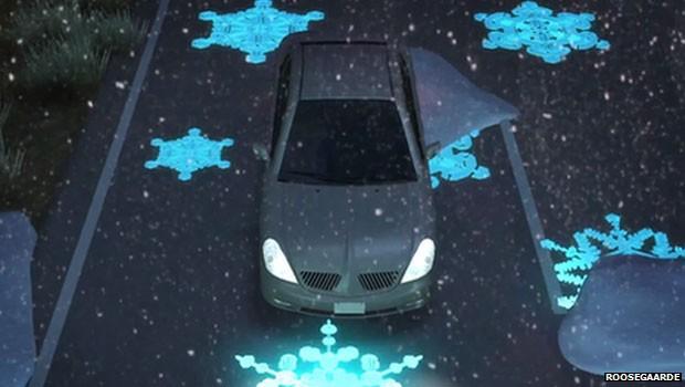 Placas luminosas na estrada avisariam motoristas se há gelo na pista. (Foto: BBC)