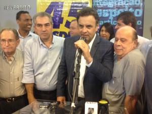 Aécio Neves durante visita a Campo Grande nesta sexta-feira (6) (Foto: Hélder Rafael/G1 MS)