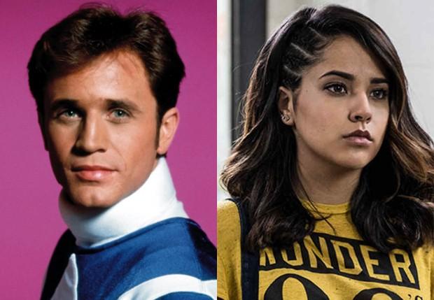 David Yost, na época de 'Power Rangers' e Becky G., que será super-heroína homossexual na nova versão (Foto: Divulgação)