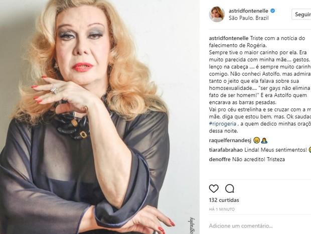 Astrid Fontenelle lamenta morte de Rogéria (Foto: Reprodução/Instagram)