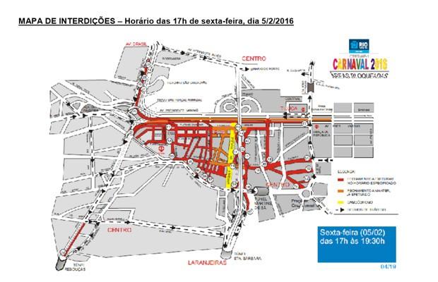 Mapa de interdições de sexta-feira (5) (Foto: Reprodução / Centro de Operações da Prefeitura)