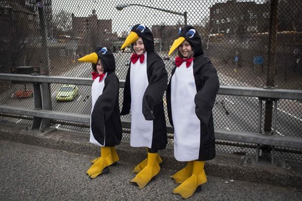 Trio de pinguins posa para foto durante comemoração do Purim nos EUA (Foto: Andrew Kelly/Reuters)