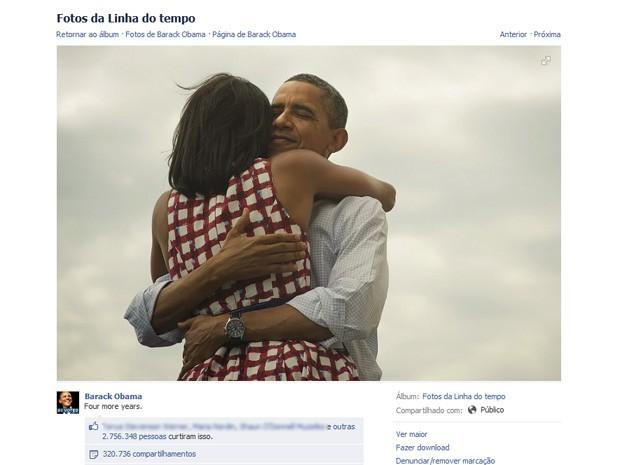 Até as 10h desta quarta, imagem da vitória de Obama havia sido curtida por mais de 2,7 milhões de pessoas no Facebook (Foto: Reprodução/Facebook)