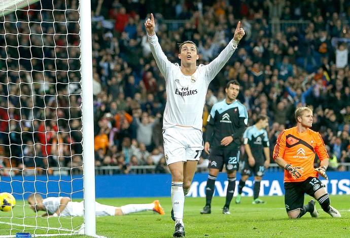 Cristiano Ronaldo comemoração Real Madrid contra Celta (Foto: AP)