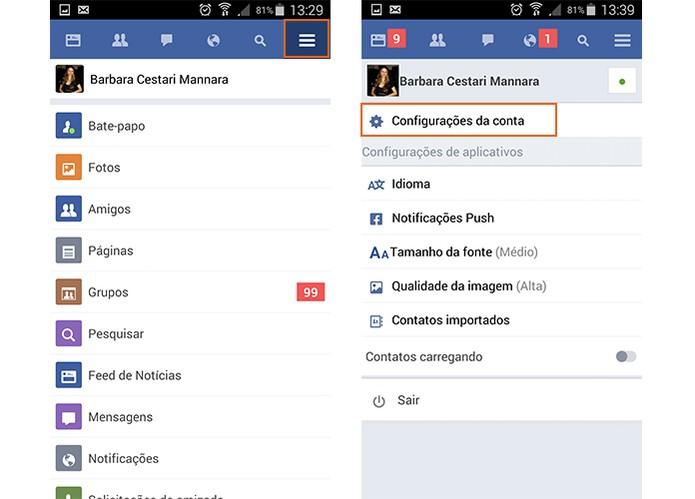 Acesse os recursos e configurações do Facebook Lite no Android (Foto: Reprodução/Barbara Mannara)