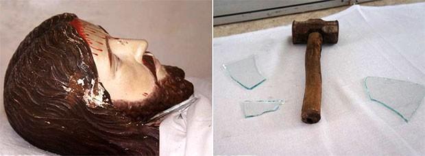 Bancada ficou cheia de cacos de vidro. Na cabeça da imagem, é possível ver as marcas das pancadas  (Foto: Alcivan Villar/Fim da Linha)