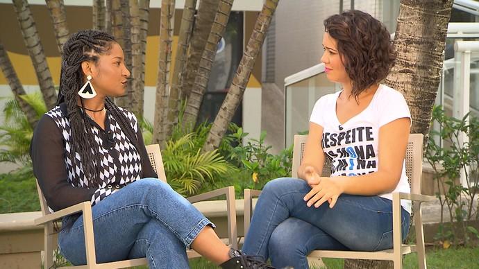 Cantora Larissa Luz explica conceitos ligados à sororidade (Foto: TV Bahia)