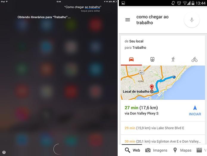 Google Now possui um reconhecimento mais apurado e respostas mais diretas que Siri (Foto: Reprodução/Elson de Souza)