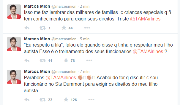 Marcos Mion reclama de companhia aérea no Twitter (Foto: Reprodução)