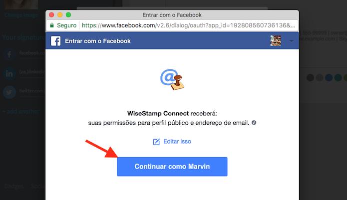 Caminho para vincular uma conta do Facebook à extensão WiseStamp para Google Chrome (Foto: Reprodução/Marvin Costa)