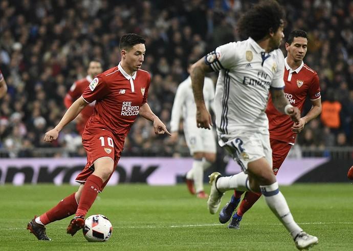 Nasri, Ganso e Marcelona Real Madrid x Sevilla (Foto: Site oficial do Sevilla)