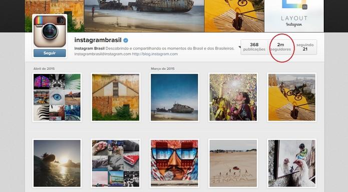 Em um ano, @instagrambrasil conquistou mais de 2 milhões de seguidores (Foto: Reprodução/Instagram)