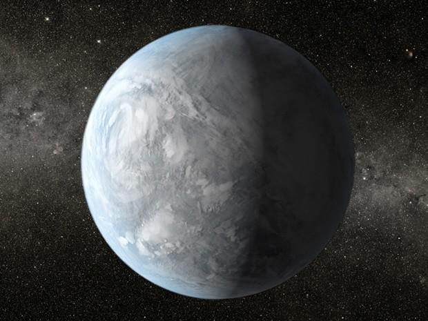 O planeta Kepler-62e é 60% maior do que a Terra e completa a órbita ao redor de sua estrela a cada 122 dias (Foto:  Science@NASA/NASA's Goddard Space Flight Center)