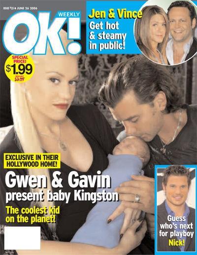 Gwen Stefani, Gavin Rossdale e o filho Kingston Rossdale na capa da Revista OK! (Foto: Reprodução)