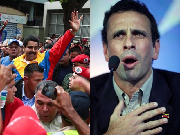 Maduro (esq.) em foto nas ruas de Caracas neste sábado (16) em foto fornecida pelo Palácio de Miraflores e Capriles em foto de coletiva de imprensa do dia 10 de março (Foto: Miraflores Palace/Handout/Reuters e Rodrigo Abd/AP)
