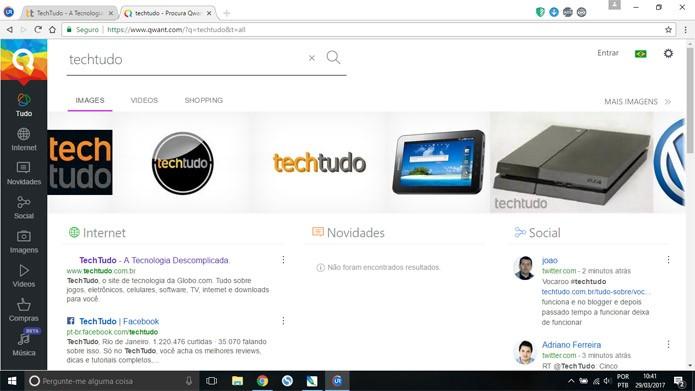 Qwant é a busca padrão do UR Browser (Foto: Reprodução)