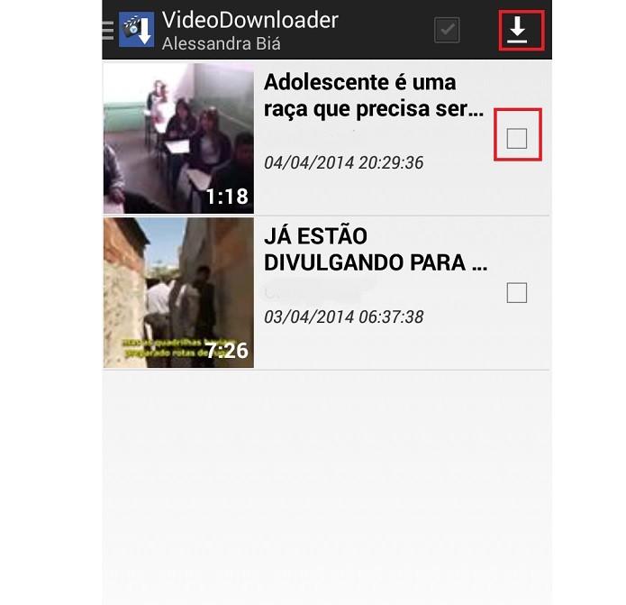 Marque a caixinha para baixar o vídeo (Reprodução/Taysa Coelho)