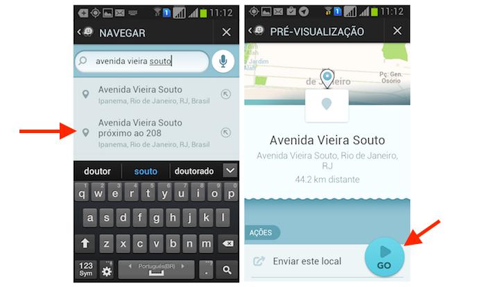 Iniciando uma busca pelo local de destino de uma rota no Waze para Android (Foto: Reprodução/Marvin Costa)