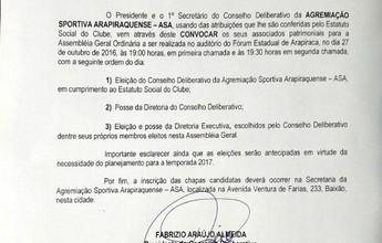 ASA publica edital de convocação para eleições gerais do clube