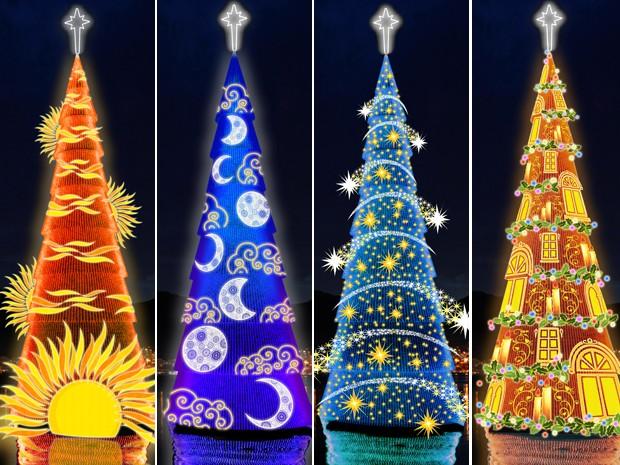 Luz é o tema da árvore de Natal da Lagoa, na Zona Sul do Rio (Foto: Divulgação)