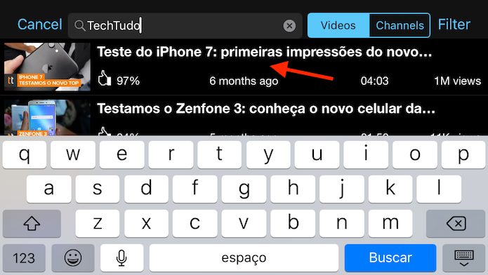 Buscando um vídeo para baixar para o iPhone com o app Tube for YouTube (Foto: Reprodução/Marvin Costa)