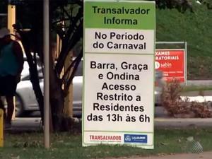 Mudanças do trânsito no carnaval de Salvador (Foto: Imagens/TV Bahia)
