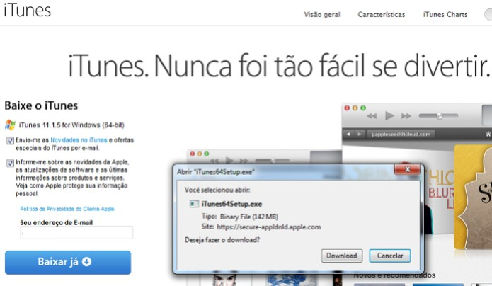 Baixando o iTunes no site da Apple (Foto: Reprodução/Edivaldo Brito)