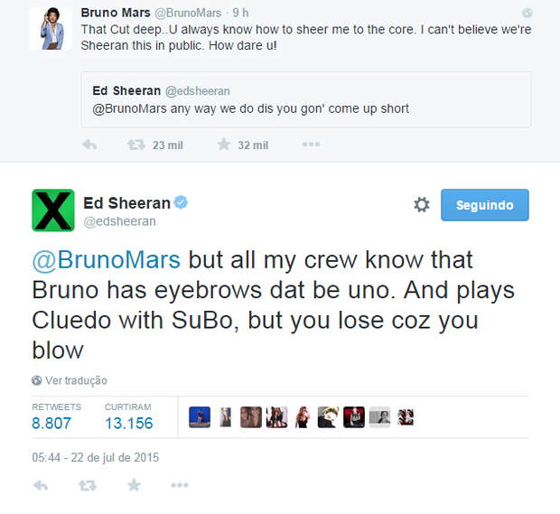 Bruno Mars e Ed Sheeran em post no Twitter (Foto: Reprodução)