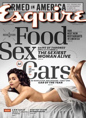 Capa da 'Esquire' de novembro de 2015, que traz a atriz Emilia Clarke ('Game of thrones'), eleita pela revista a mulher mais sexy do mundo em 2015 (Foto: Divulgação)